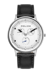 Police Berkeley Analog Watch for Men with Leather Band, Water Resistant with Chronograph, P 15968JS, Black-White