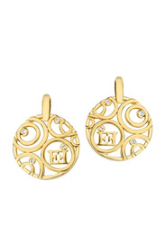 Escada Gold Plated Stud Earrings for Women with Swarovski Stone, Gold