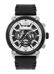 Police Armor Analog Watch for Men with Leather Band, Water Resistant and Chronograph, P 14378JSTB-01, Black-White