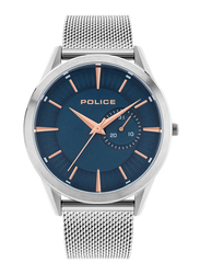 Police Helder Analog Watch for Men with Stainless Steel Mesh Band, Water Resistant, P 15919JS, Silver-Blue
