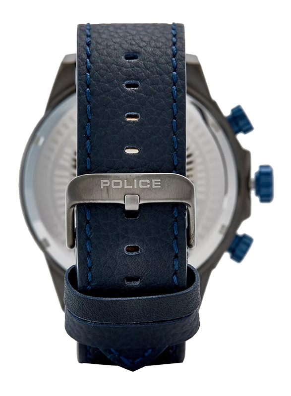 Police Belmont Analog Watch for Men with Leather Band, Water Resistant and Chronograph, P 15970JSU-61, Blue-Grey
