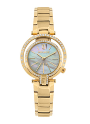 Police Aranui Analog Watch for Women with Stainless Steel Band, Water Resistant, P 15697LS, Gold-White