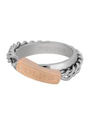 Police Stria Fashion Ring for Women, Silver/Rose Gold, EU 54