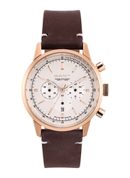 Gant Bradford Leather Watch for Men, Water Resistant with Chronograph, Brown-White, G GWW064003