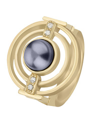 Escada Pearl Stone Fashion Ring for Women, Gold, EU 56