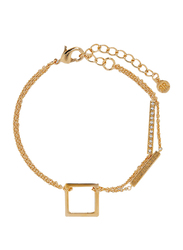 Cerruti 1881 Gold Plated Stainless Steel Double Chain Bracelet for Women with Diamond Stone, C CRJ B210SG, Gold