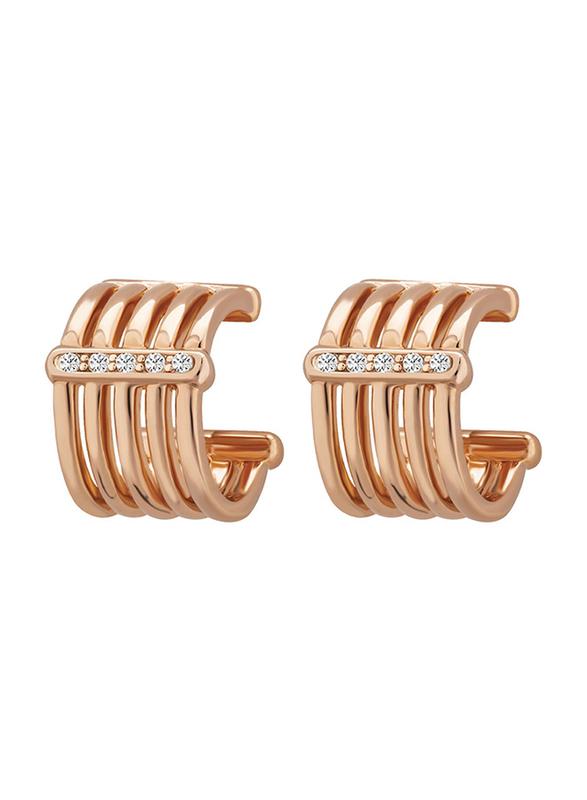 Cerruti 1881 Stainless Steel Hoop Earrings for Women with Diamond Stones, Rose Gold