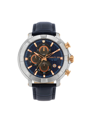 Cerruti 1881 Trignano Analog Leather Watch for Men, Water Resistant with Chronograph, Blue, C CRWA25802