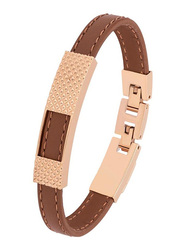 Cerruti 1881 Leather Ion Bracelet for Men, Rose Gold & Brown
