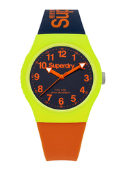 Superdry Urban Analog Watch for Men with Silicone Strap, Water Resistant, T SDWSYG164MU, Orange/Blue-Black
