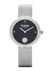 Versus Lea Watch for Women with Stainless Steel Band, Water Resistant, V WVSPEN0, Silver-Black