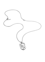 Police Newtown Stainless Steel Pendant Necklace for Men, Silver