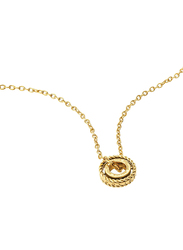 Police Trundle Stainless Steel Charm Necklace for Women, Gold