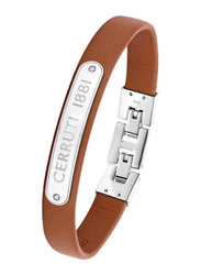 Cerruti 1881 Leather Ion Bracelet for Men, Silver & Brown