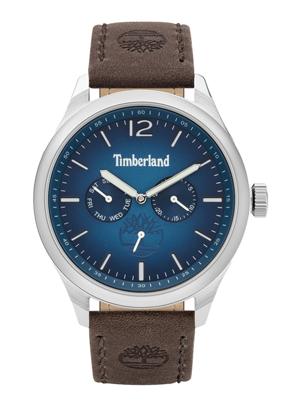 Timberland Saugus Quartz Analog Watch for Men with Leather Band, Water Resistant and Chronograph, T TBL15940JS-03, Light Brown-Blue