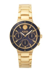 Versus Harbour Heights Analog Watch for Women with Stainless Steel Band, Water Resistant and Chronograph, V WVSP880, Gold-Navy Blue