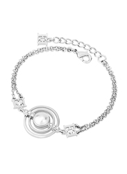 Escada Metal Charm Bracelet with Swarovski Stone for Women, Rhodium