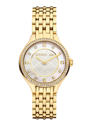Cerruti 1881 Navarra Analog Watch for Women with Stainless Steel Band, Water Resistant, C CRWM28401, Gold-White