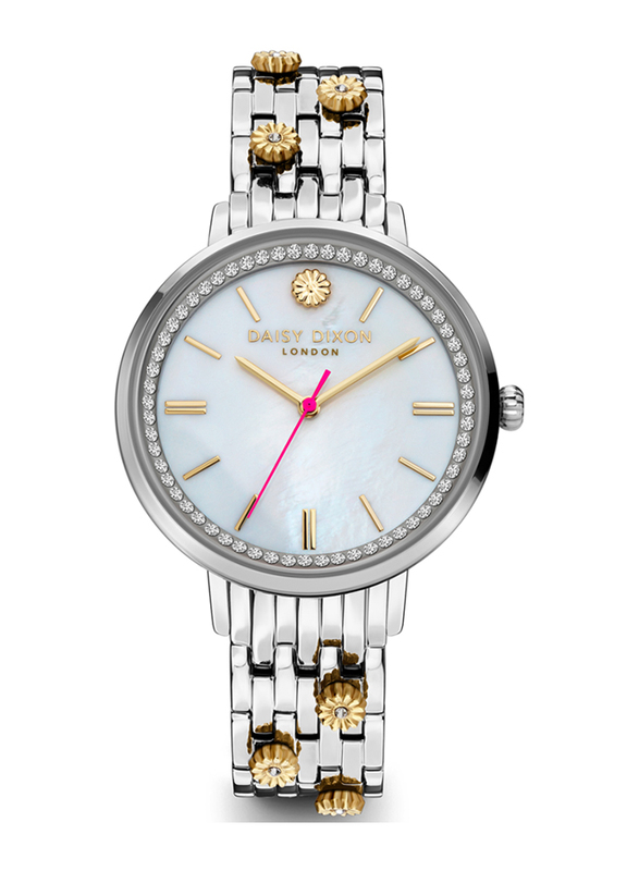 Daisy Dixon Kendall #24 Analog Watch for Women with Stainless Steel Band, Water Resistant, D DD158SM, Silver/Gold-White