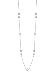 Cerruti 1881 Stainless Steel Charm Necklace with Swarovski Stone for Women, Silver