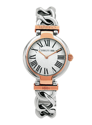 Cerruti 1881 Avola Analog Watch for Women with Stainless Steel Band, Water Resistant, C CRWM263, Silver-White