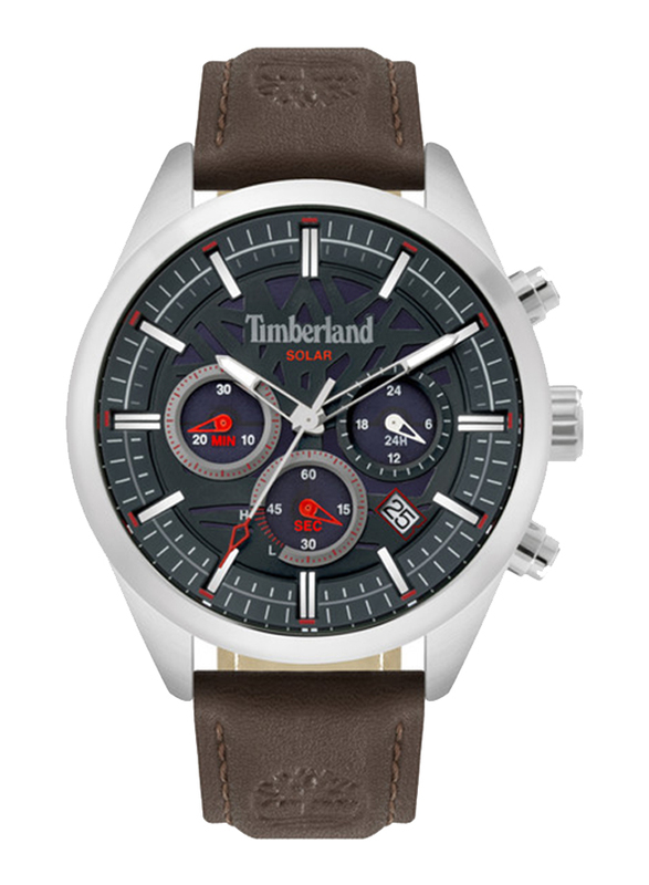 Timberland Thurlow Solar Watch for Men with Leather Band, Water Resistant and Chronograph, T TBL15950JYS-03, Dark Brown-Blue