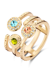 Cerruti 1881 Gold Plated Stainless Steel Stacking Ring for Women with Tri Color Stones, Gold, EU 56