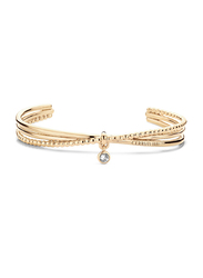 Cerruti 1881 Gold Plated Stainless Steel Bangle Bracelet for Women with Dangle and Diamond Stone, Gold