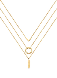 Police Ensemble Stainless Steel Multi-Strand/Chain Necklace for Women, Gold