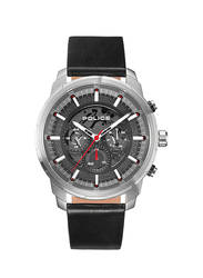 Police Moher Analog Leather Watch for Men, Water Resistant with Chronograph, Black-Grey, P 15656JS-61