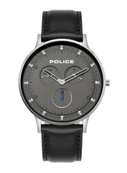 Police Berkeley Analog Watch for Men with Leather Band, Water Resistant with Chronograph, P 15968JS, Black