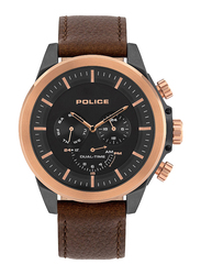 Police Belmont Analog Watch for Men with Leather Band, Water Resistant and Chronograph, P 15970JSU, Brown-Black