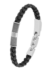 Cerruti 1881 Leather Ion Bracelet for Men, Silver