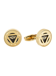 Police Mens Cufflinks, Stainless Steel, with Carbon Fibre, Gold Plated/Black