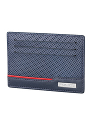 Police Punched Blue Leather Card Case for Men, Blue