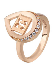 Escada Rose Gold Plated 925 Sterling Silver Fashion Ring for Women with Zircon Stones, Rose Gold, EU 54