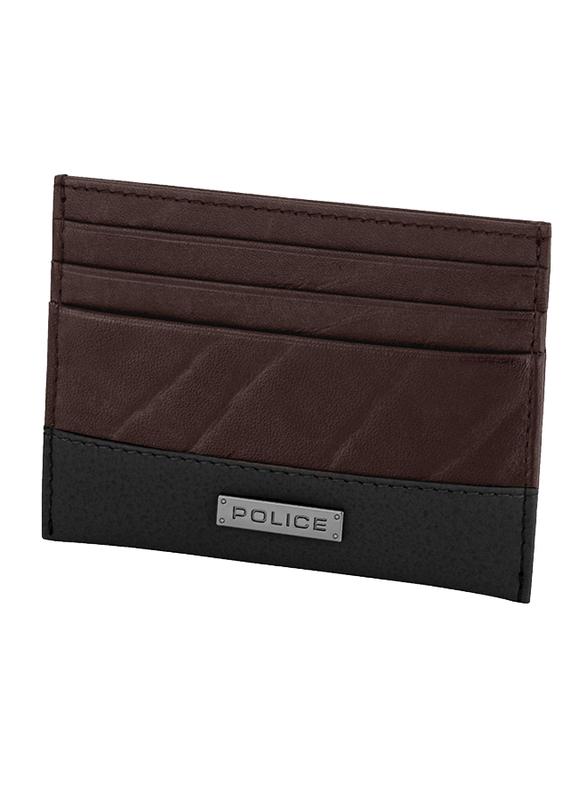 Police Tolerance Leather Card Case for Men, Brown