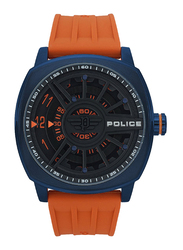 Police Speed Head Analog Watch for Men with Rubber Band, Water Resistant, P 15239JSBL-02P, Orange-Black