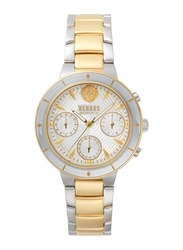 Versus Harbour Heights Analog Watch for Women with Stainless Steel Band, Water Resistant and Chronograph, V WVSP880, Gold/Silver-White