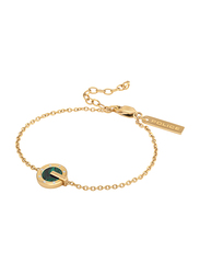 Police Incrible Gold Plated Stainless Steel Chain Bracelet for Women with Green Malachite Stone, Gold