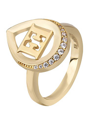 Escada Gold Plated 925 Sterling Silver Fashion Ring for Women with Zircon Stones, Gold, EU 54