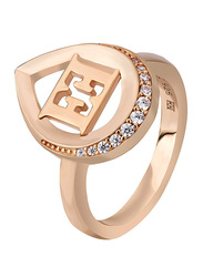 Escada Rose Gold Plated 925 Sterling Silver Fashion Ring for Women with Zircon Stones, Rose Gold, EU 52