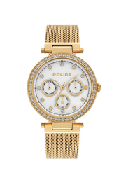 Police Mikkeli Analog Metal Watch for Women, Water Resistant, Gold, P 15891MYG-28MM