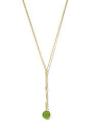 Cerruti 1881 Gold Plated Stainless Steel Single Layer Y Necklace for Women with Opaque Green Stone Dangle, Gold