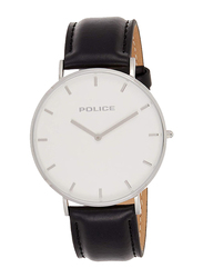 Police Kingston Analog Watch for Men with Leather Genuine Band, Water Resistant, P 15367JS-01, Black-White