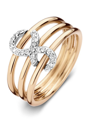 Cerruti 1881 Gold Plated Stainless Steel Stacking Ring for Women with Infinity Motif, Gold, EU 56