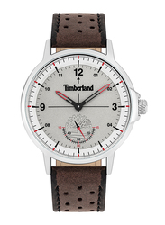 Timberland Parkridge Analog Watch for Men with Leather Band, Water Resistant, T TBL15943JY, Dark Brown-Grey