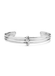 Cerruti 1881 Stainless Steel Bangle Bracelet for Women with Infinity Motif and Diamond Stone, Silver