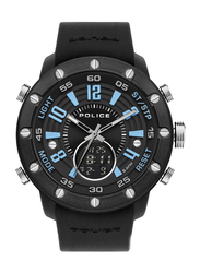 Police Batur Analog/Digital Watch for Men with Silicone Band, Water Resistant, P 16015JPBB-02P, Black