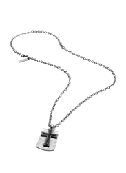 Police Cochin Stainless Steel Pendant Necklace for Men, Silver